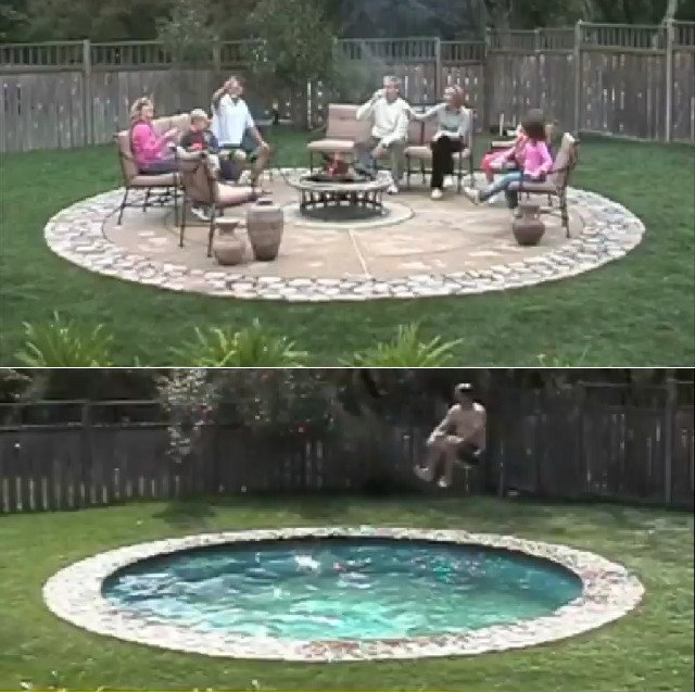James Bondy: Tranformer Patio Conceals Secret Pool | Geekologie