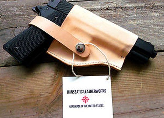 Colt 1911-Molded Holster-Natural Colored Leather-Handmade in The USA