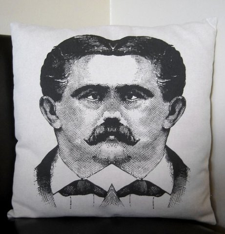 Mustache Siamese Twins Pillow