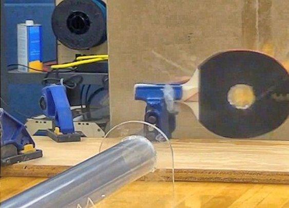 Ping-pong gun fires balls at supersonic speeds