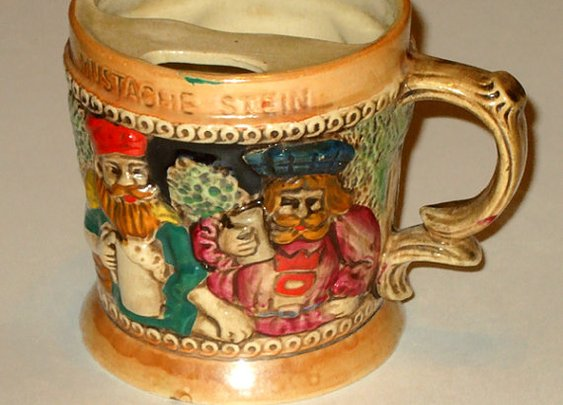 Vintage 1940's or 50's Lusterware Mustache Cup by AntiquesNOldies