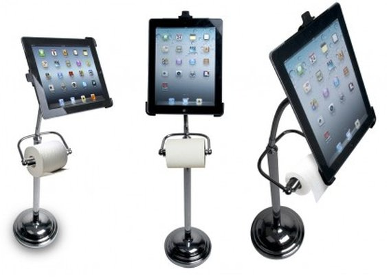 Pedestal Stand for iPad brings technology to toilet trips