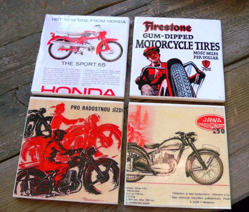 Vintage Motorcycle Ads-Ceramic Coasters