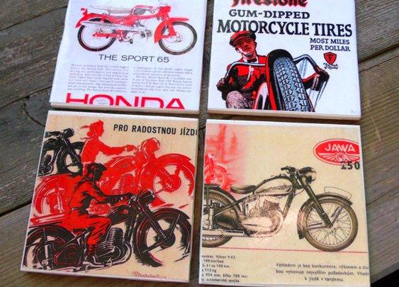 Vintage Motorcycle Ads-Ceramic Coasters