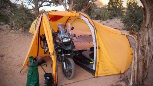Series II Expedition Tent provides shelter for you and your motorbike