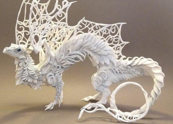 White Lattice Dragon by ~creaturesfromel on deviantART