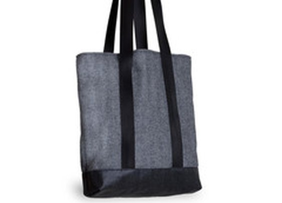 Herringbone Wool Tall Tote Bag, Blue Lining