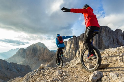 Extreme Mountain Unicycling Down the Italian Alps