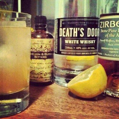 White Whiskey Stone Pine Sour Cocktail