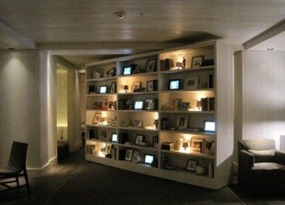 Rotating Secret Bookshelf Door to Lobby Bar