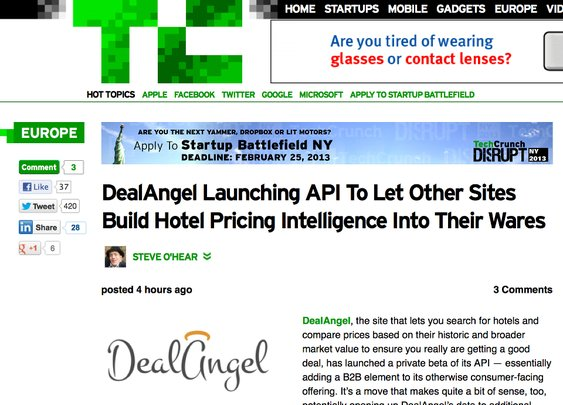 DealAngel makes front page of TechCrunch for killer hotel pricing technology