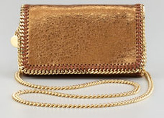 Stella McCartney Crackled Metallic Crossbody Bag, Bronze - Neiman Marcus