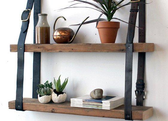 How to: Make a Rustic Wood and Leather Hanging Shelf | Man Made DIY | Crafts for Men | Keywords: how-to, diy, recycle, rustic