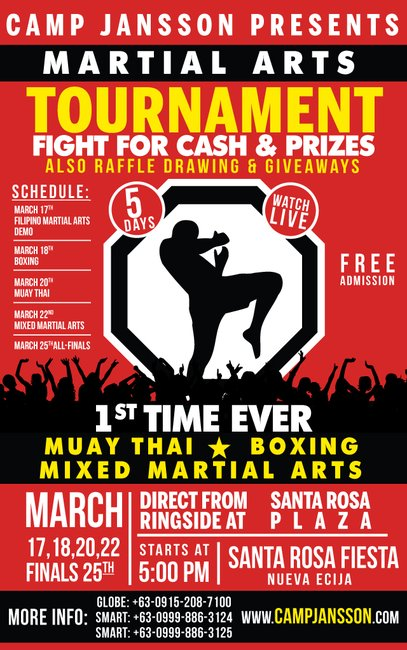 Philippines Martial Arts Tournament 5 days of MMA, Muay Thai, Boxing