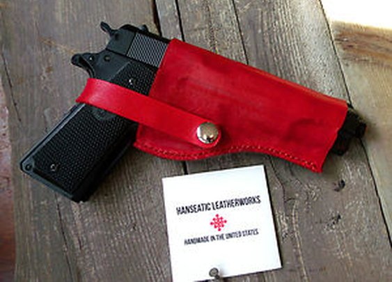 Colt 1911 Holster-Custom Molded-Red Colored Leather-Handmade in The USA