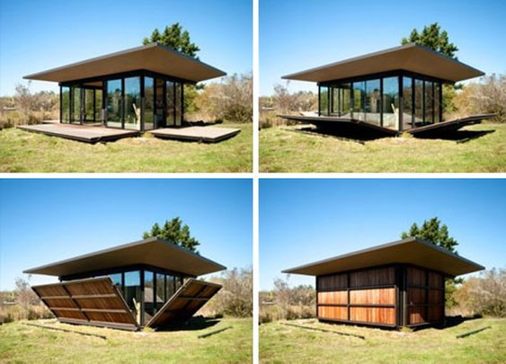 Flip-Down Walls Reveal Writer's Cabin