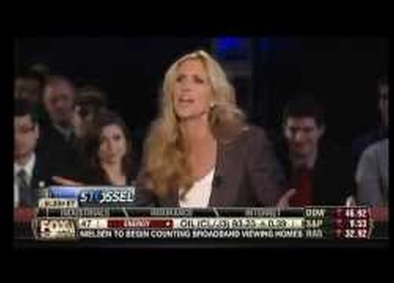 Ann Coulter Battles Stossel, Calls Libertarians 'Pussies,' And Gets Booed By Room Full Of Students - YouTube
