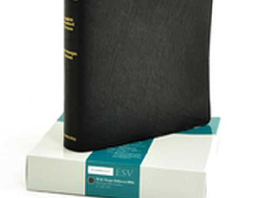ESV Wide-Margin Reference Bible--goatskin leather, black
