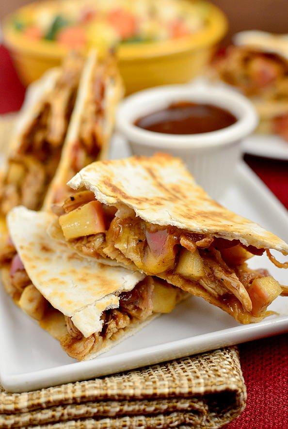 BBQ Chicken, Apple, Bacon, Cheddar Quesadillas | Iowa Girl Eats