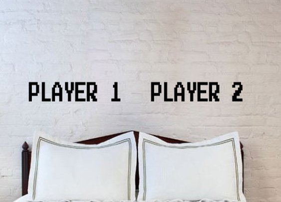 Player 1 and Player 2 Bedroom Wall Decals