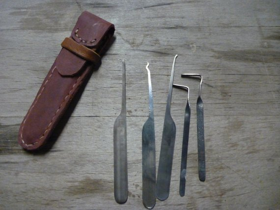 Lockpick tool set with leather case by TinkerWoodworks on Etsy