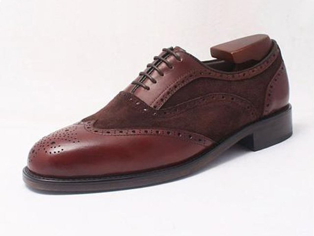calf & suede leather handmade brogue oxford