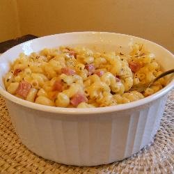Pan Fried Macaroni and Cheese (with HAM!)