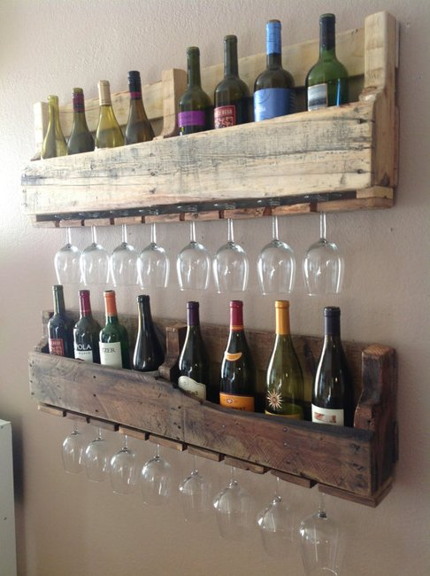 Reclaimed wood wine rack set of 2 by DelHutsonDesigns on Etsy