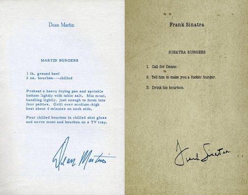 Dean Martin and Frank Sinatra's hamburger recipes