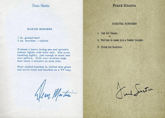 Dean Martin and Frank Sinatra's hamburger recipes