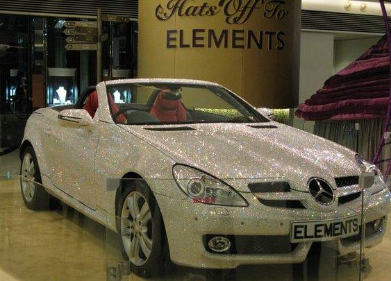 Mercedes SLK 200 covered with Swarovski Crystals