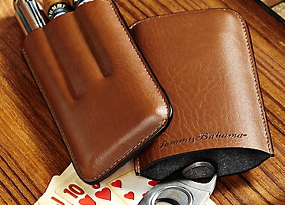 Leather Cigar Tube, Flask and Cigar Cutter