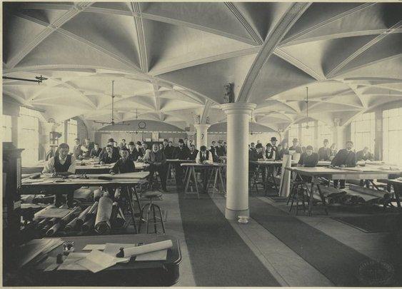 Hecla Iron Works drafting room, 1900