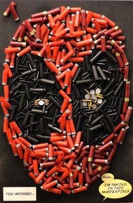 Deadpool's Head Recreated Using Bullets & Shotgun Shells