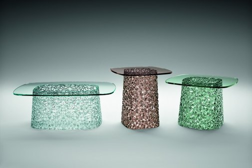 Artistic coffee tables from glass