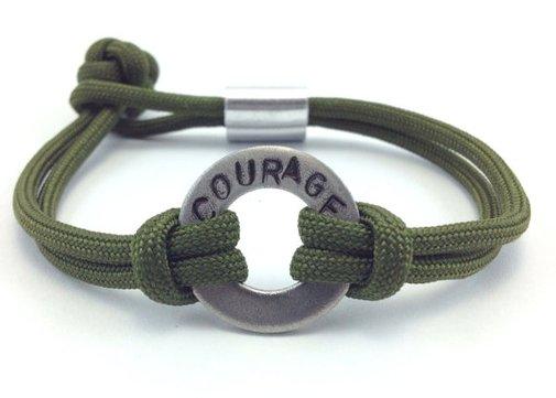 Courage Stamped Paracord Bracelet by DesignedTurning on Etsy