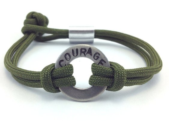 Courage Stamped Paracord Bracelet by DesignedTurning on Etsy