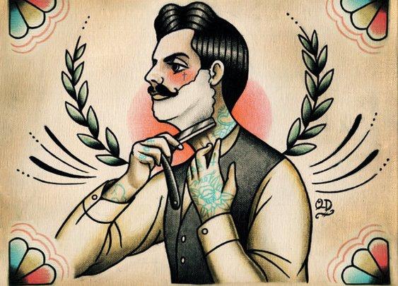 Shaving Victorian Man Side view Tattoo Print