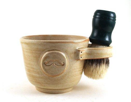 Shaving Mug with a Mustache in Cream