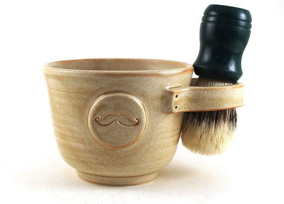 Shaving Mug with a Mustache in Cream