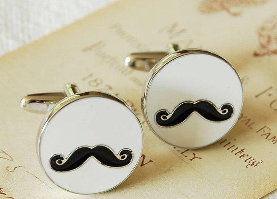 moustache cufflinks