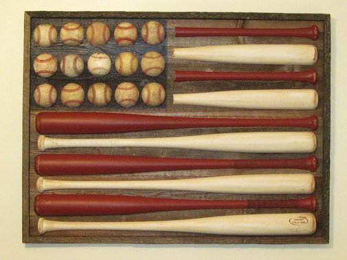 American Baseball Bat Flag ( Recycled Art )
