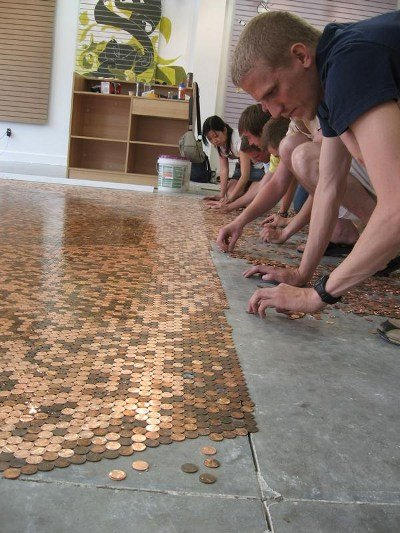 The Penny Floor:  Flooring that only costs about $1.44 per square foot.