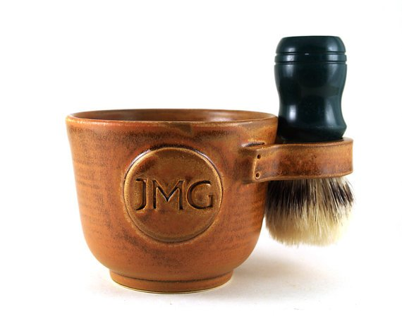 Personalized Shaving Mug by MiriHardyPottery on Etsy