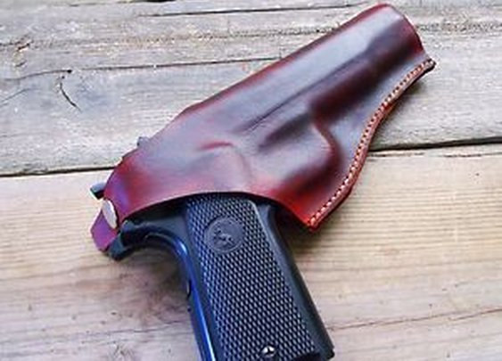 Colt 1911 Holster Custom Molded-Thumb Break-Brown-Handmade in the USA