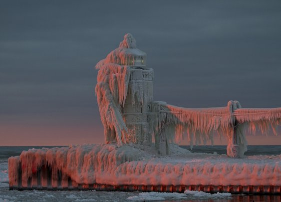 Frozen Lighthouse on Lake Michigan