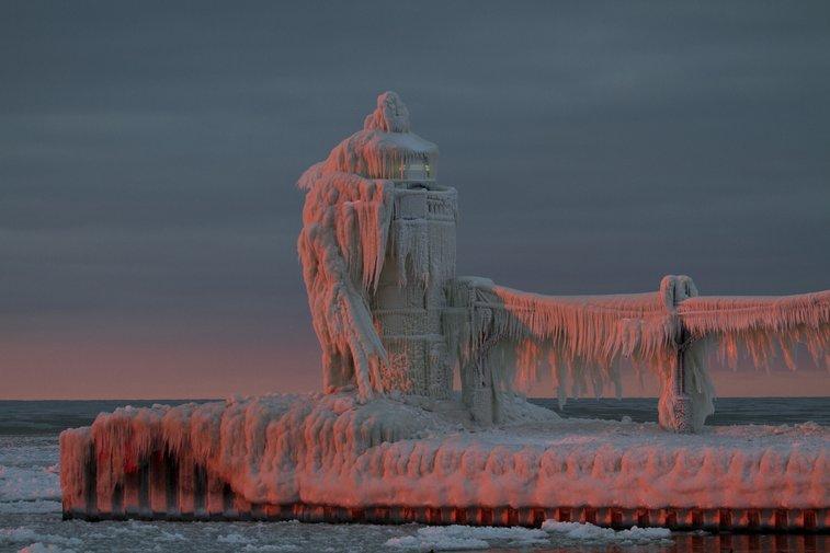 Frozen Lighthouse on Lake Michigan
