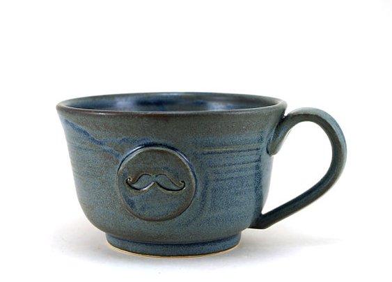 Large Blue Ceramic Mustache Mug