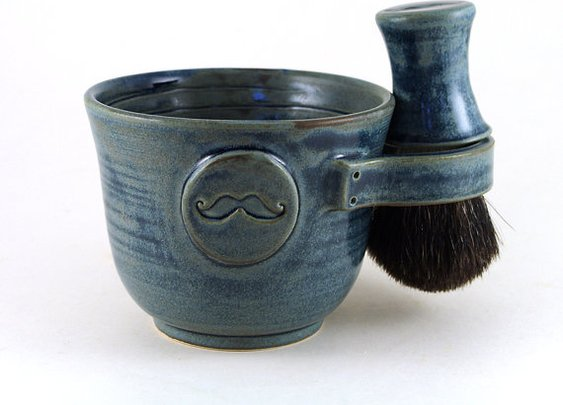 Blue Mustache Shave Set by MiriHardyPottery