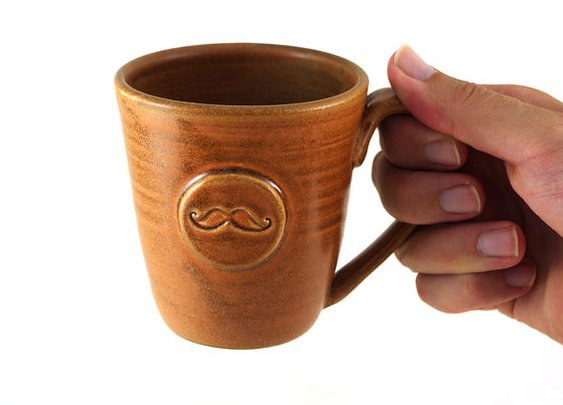 Brown Mustache Mug  by MiriHardyPottery